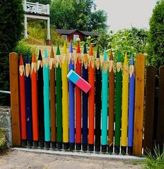 Build Your Own Garden Gate | The pencil garden gate looks fabulous and it has a little eraser too ...
