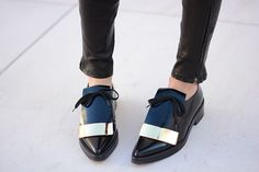 . More Fashion Shoes, Black Loafers, Style, Black Shoes, Holidays Wishlist, Black Flats, Metals Points, Kors Holidays, Boots Metal Point Loafer Michael Kors Holiday Wishlist Black loafers business chic km Cool boots Black shoes No thats a #retro #masculine look with style. gorgeous patent black flats
