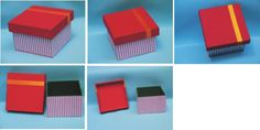 Caixas de MDF encapadas com tecidos com estampas na cor vermelha detalhe em fita de cetim. Pintura verde na parte interna. Dimensão: 9 cm x 9 cm x 6,5cm Fabric covered boxes. Red colors.