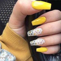 to look and feel special on nails this year? Choose nail designs that best Want to look and feel special on nails this year? Choose nail designs that bestWant to look and feel special on nails this year? Choose nail designs that best Cute Acrylic Nails, Cute Nails, Pretty Nails, My Nails, Daisy Nails, Acrylic Spring Nails, Acrylic Nails Yellow, Fall Nails, Acrylic Summer Nails Almond