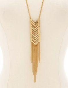 chevron fringe pendant necklace