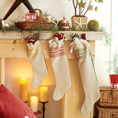 Sew a tea-towel stocking: For a more vintage feel, make stockings from old dish towels, curtains or tablecloths. YOU'LL NEED (makes 1 stocking): All Things Christmas, Simple Christmas, Christmas Holidays, Christmas Decorations, Holiday Decor, Christmas Picks, Xmas, White Christmas, Holiday Crafts