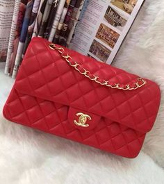 Chanel Small Classic Flap Bag in Red Lambskin with golden hardware sale at USD 323. Free Worldwide Shipping. Check out more on http://www.luxtime.su/chanel-bags