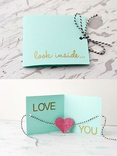 """Unique DIY Valentines Day Cards & Envelopes DIY greeting card ~ """"Look inside.Love you"""" Valentines Bricolage, Valentine Day Crafts, Valentines Day Gifts For Him Creative, Handmade Valentine Gifts, Handmade Gifts For Friends, Diy Valentines Cards, Handmade Bday Cards, Valentines Day Gifts For Him Boyfriends, Creative Homemade Gifts"""