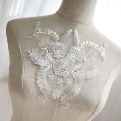 Embellishments & Finishes Bridal Lace Applique Embroidery Floral Applique Motif For Wedding Dress 1 Piece & Garden Lace Wedding Dress, Bridal Lace, Dress Lace, Embroidery Applique, Floral Embroidery, Machine Embroidery, Embroidery Designs, Wedding Motifs, Evening Dresses For Weddings