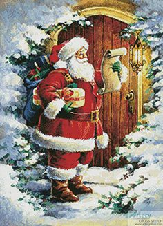 Santa at the Door - cross stitch pattern designed by Tereena Clarke. Diy Christmas Lights, Decorating With Christmas Lights, Christmas Table Decorations, Christmas Door, Christmas Cross, Outdoor Christmas, Christmas Balls, Tree Decorations, Christmas Wreaths