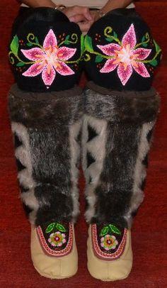 Inuit made women's beaded/embroidered sealskin kamiks by Tanya Innaarulik