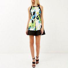 Green abstract print skater dress