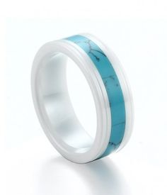 Delivery within 24 hours Turquoise Inlay White Ceramic Ring