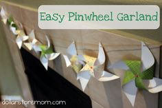 super simple and quick tutorial for a paper stash-busting (aka FREE) pinwheel garland…perfect for your spring mantle!