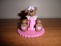 Brown Bear Birthday Cake Topper and by TammysClayCreations on Etsy, $21.95