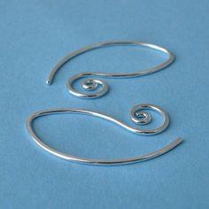 Swirly Leafette Earrings or Earwires Sterling by RockisMetalwork, $8.50