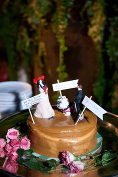 """Cute 2nd wedding cake! She says, """"We will raise our children as rebels."""" And he says, """"Yes, dear!"""""""