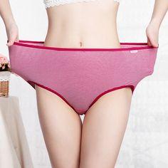 82b536d68e83e Women High Waist Stripe Elastic Cotton Soft Comfy Panties Underwear