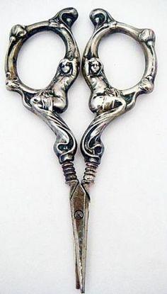 Antique Art Nouveau Sewing Desk Scissors Sterling Silver Figural Maidens (#5086