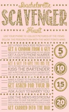 Bachelorette party games are the key to having a great time! We have 20 rocking ideas: bachelorette scavenger hunt, quiz and other hen games! Bachelorette Scavenger Hunt, Bachelorette Party Games, Bachelorette Weekend, Bachelorette Checklist, Bachlorette Party, Hen Party Games, Party Favors, Wedding Party List, Wedding Gifts