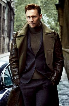 Tom Hiddleston- menswear for fall. Layers and textures. Tweed suit, leather coat with big fleece lining on lapels.