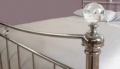 My Furniture - 5ft King size Nickel Iron / Metal bed Chrome Plated Traditional style -Waterford