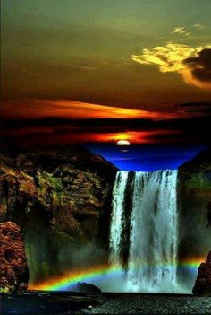 Who new a waterfall was so fragile and deli kit like glass. The energy must be heavy to make it that long.when you look up you'll see a dark blue that makes the waterfall. Beautiful Waterfalls, Beautiful Sunset, Beautiful Landscapes, Beautiful World, Beautiful Places, Beautiful Scenery, Nature Pictures, Amazing Nature, Belle Photo