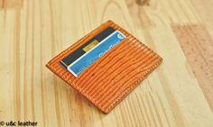 Mini Card-Wallet horizontal em Couro de Iguana (Carteira Compacta)