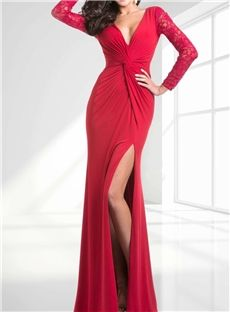 Sexy Front Split Embroidery Zipper Up Floor Length Evening Dress