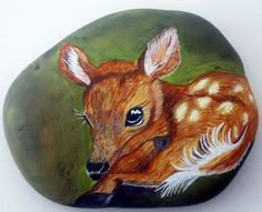 Fawn River Rock Art by PaulineLibutti on Etsy Pebble Painting, Pebble Art, Stone Painting, Rock Painting, Painted Rock Animals, Hand Painted Rocks, Painted Pebbles, Painted Stones, Stone Crafts