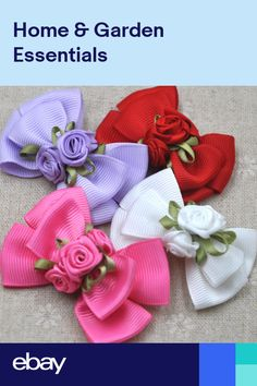 Beautiful Grosgrain Bow Applique We - Diy Crafts Satin Ribbon Flowers, Ribbon Art, Ribbon Hair Bows, Diy Hair Bows, Diy Ribbon, Ribbon Crafts, Rose Crafts, Flower Crafts, Craft Flowers