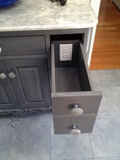 Outlet in drawer. Kitchen. Kitchen idea. Home idea. Cabinets. Storage. Home. Great idea. Cool idea.