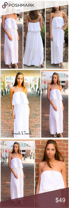 Classy Maxi Dress The classy Off Shoulder Maxi Dress with a little touch of darling. Crisp Summer white with eyelet bodice. Made of a cotton/poly blend and lined. Super soft and flowy. Wear it strapless or wear with halter tie. Size S, M, L                                   White maxi dress. FINAL PRICE NO EXTRA DISCOUNTS  Small  Bust 34 Length 47  Medium  Bust 36 Length 47  Large  Bust 38 Length 47 Dresses Maxi