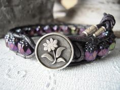 Leather wrap bracelet, cottage chic, bohemian jewelry, gift for her, metallic purple bracelet, jewelry trends, stack and layer on Etsy, $30.00