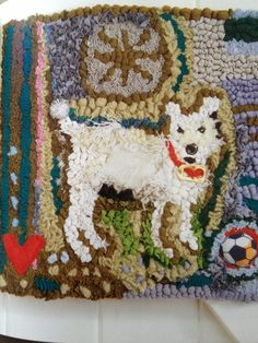 Spot the Dog - hand hooked recycled fabrics Lizzie Reakes Hook Punch, Hand Hooked Rugs, Rag Rugs, Rug Ideas, Penny Rugs, Traditional Rugs, Wool Applique, Recycled Fabric, Punch Needle