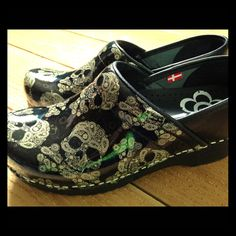 Sanita Sugar Skull Paisley Patent Leather Clogs 37 New without box. Never worn. Size 37, fit like US 7. Too cool!!!!  Skulls are cream colored! Sanita Shoes Mules & Clogs