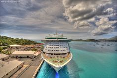 Liberty of the Seas docks in the Caribbean.