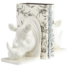 Rhino Sculpture Bookend