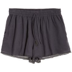 CALYPSO St. Barth Rowena Lace Trim Cotton Short ($40) ❤ liked on Polyvore featuring shorts, bottoms, pants, short, coal, drawstring shorts, draw string shorts, summer shorts, pompom shorts and elastic waist shorts