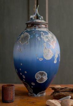 Morning Blue Crystalline Jar by BoswellCeramics on Etsy, $520.00