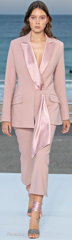 Coral Fashion Two-Piece Sets-Pink New Fashion Trends, Fashion 2020, Runway Fashion, Coral Fashion, Suit Vest, Jonathan Simkhai, Jacket Style, Couture Fashion, Peplum Dress