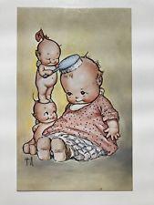 Adorable 1970s Kewpieville Kewpie Doll Postcard -- Kewpies Brushing Doll Hair
