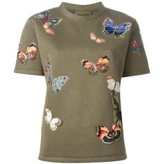 Valentino Stitched Butterfly Sweat Top ($1,907) found on Polyvore featuring tops, hoodies, sweatshirts, sweaters, green, short sleeve tops, green sweatshirt, brown tops, sweat shirts and short sleeve sweatshirts
