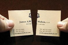 perforated business card for divorce lawyer. Agency: John St. #graphic_design #corporate_identity MORE LAWYER CARDS http://www.bestbusinesscard.net/lawyers-business-card-thinking-outside-the-box