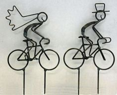 Bride and Groom on Bikes Cake Toppers by DarylsRockWireWorks, $44.00