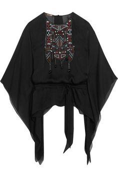 Roberto Cavalli - Embellished Silk-chiffon Kaftan - Black - IT40