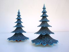 Blue Christmas Trees - Mid Century Christmas Decoration - Pair of Two Miniature Trees -