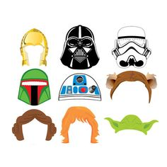 Star Wars Set 9 Photo Booth Props - Instant Download 300 dpi Printable - Darth Vader, Luke Skywalker, yoda, party mask, comic mask, birthday