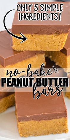 Peanut Butter Squares, Peanut Butter Bars, Peanut Butter Desserts, Vegan Peanut Butter Cookies, Sweets Recipes, Baking Recipes, Cookie Recipes, No Bake Desert Recipes, Easy Candy Recipes