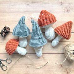 V Stitch Crochet, Crochet Fall, Free Crochet, Crochet Mushroom, Mushroom Decor, Planter, Buntings, Montessori Toys, Handmade Toys