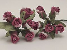 Dark Pink White Small Open Rose Parchment Millinery Dolls Crafts Floral Flowers