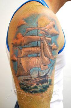 Ship Colour Tattoo - 40 Boat Tattoo Designs  <3 <3
