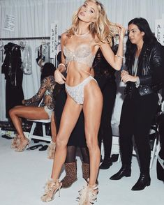 """8b9206f9bf elsa hosk on Instagram  """"The moment right before the runway.... I got to  slip into the 2018 fantasy bra.... crossing my fingers I made a million  dollar ..."""