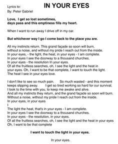 IN YOUR EYES lyrics. By: Peter Gabriel.
